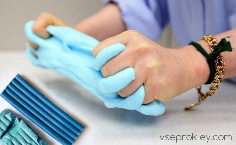 Слайм из пластилина без клея и тетрабората натрия