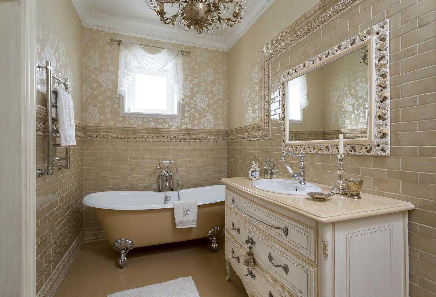 Современная санитарная комната с комбинированной облицовкой фото