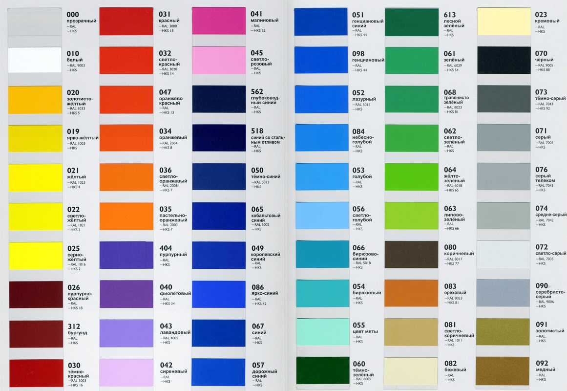 Цветовая гамма профессиональных пленок Оракал
