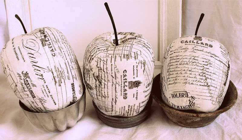 Декоративные яблоки из бумаги папье-маше фото