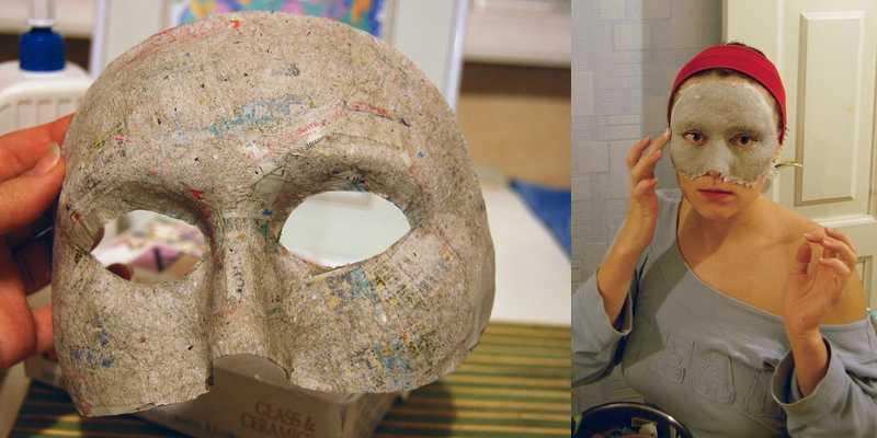 Процесс создания маски папье маше из туалетной бумаги