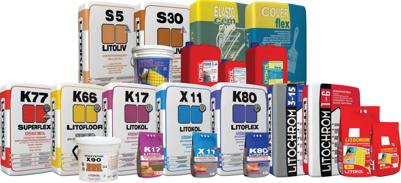 Клеевые продукты в упаковках Litokol