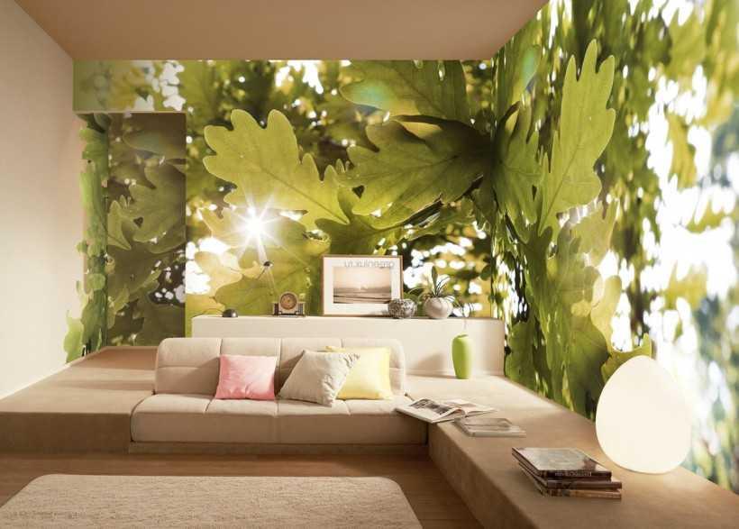 Стереоскопические обои с листьями дуба в зале
