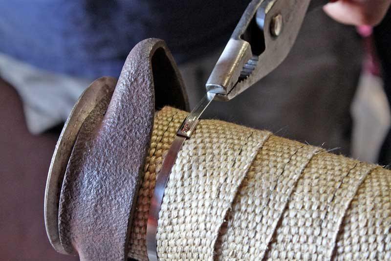 Обмотка глушителя термической лентой